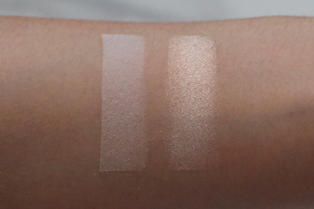 Swatches (L-R): Hourglass Ambient Lighting in Ethereal Light, KVD Metal Crush Eyeshadow in Thunderstruck