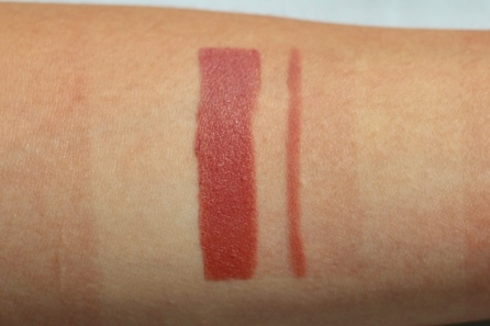 Matte Revolution Lipstick & Lip Cheat swatches in Pillow Talk