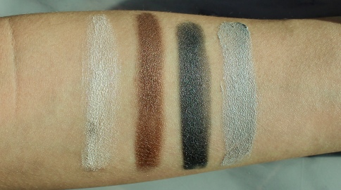 Almay Velvet Foil Cream Shadow Swatches (L-R): 070 Astro Girl, 010 End Game, 110 Black Lightning, 100 Silver Lining